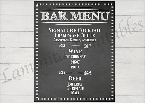 BAR menu personalizable boda Bebidas - Bar menu Sign - Wedding decorations - Wedding decor - Wedding Sign. LaminitasPrintables