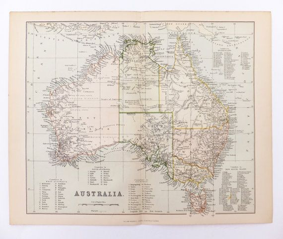 Antique Map of Australia, Vintage Map of Australia, 1880s, 19th Century Map, History Buff, Home Decor, Office Decor on Etsy, £15.00