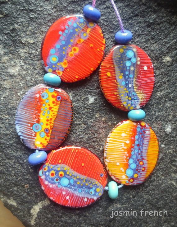 jasmin french u0027 graphics u0027 lampwork beads set sra by