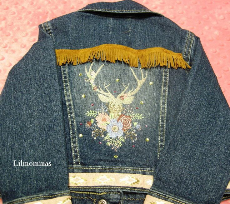 2T Boho baby denim jacket with embroidered buck design, tribal baby jacket, gypsy baby jacket, hippie baby jacket by lilmommas on Etsy