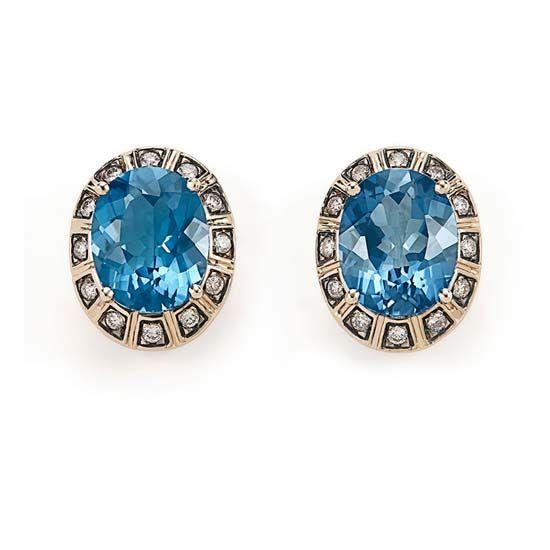 Brinco de Ouro Nobre 18K com topázio azul e diamantes cognac http://m.hstern.com.br/joia/brinco/maracana/B1TA203720