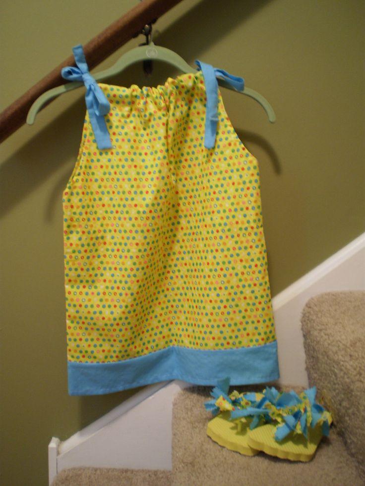 "Pillowcase Dress w/matching Flip Flops by ItzSewTime on Etsy  ""Sew Cute"".    :)"