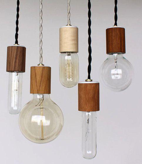 Wood veneered pendant light with bulb, via ETSY