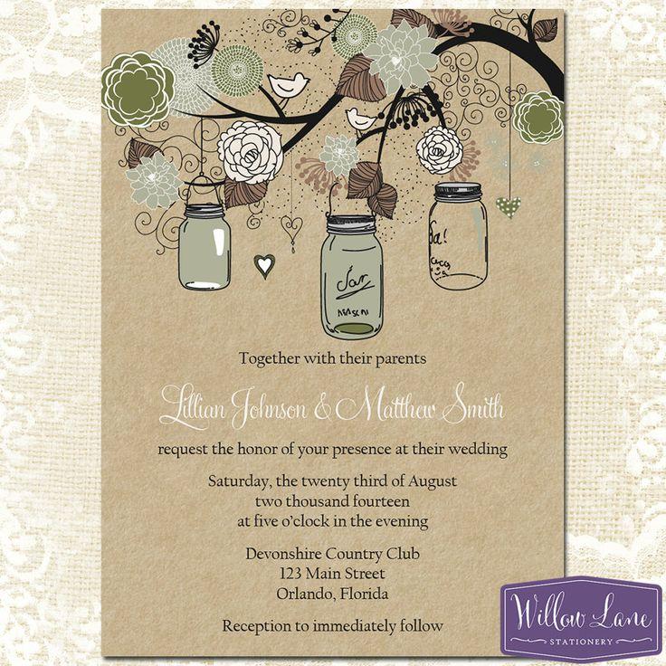 Mason Jar Wedding Invitation Moss Green By WillowLaneStationery