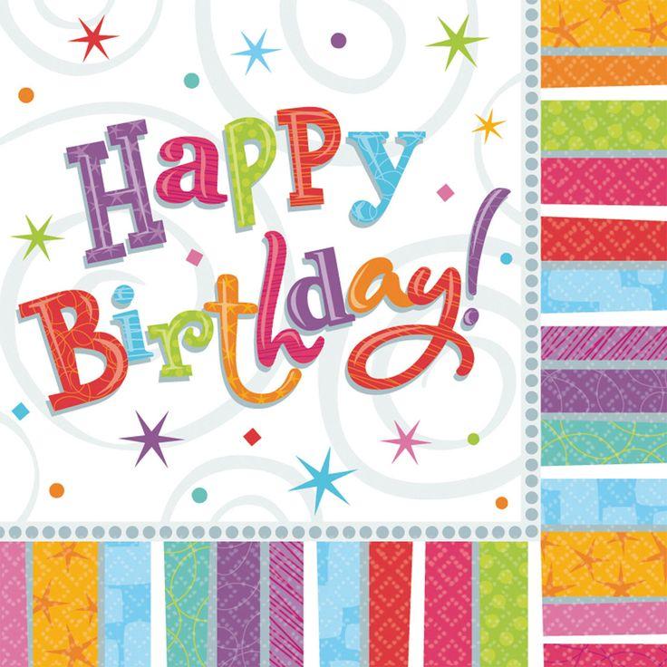Set van 16 servetten met de tekst Happy Birthday! Afmeting: 33 x 33 cm - Happy Birthday Servetten, 16st.