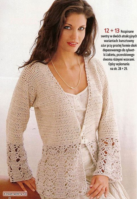 Crochet |  Lace jacket pattern available in Polish, schematics and stitch graph available