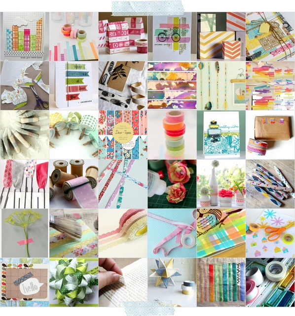 blog post of 100 ways to use craft tape... searching round the roll!