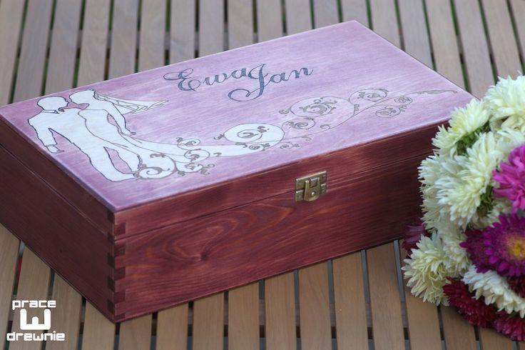 Prezent ślubny - pudełko na 2 wina
