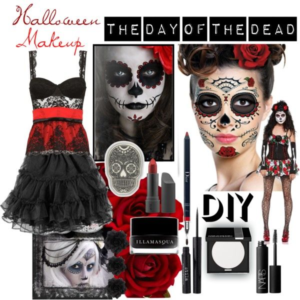 """DIY Halloween Makeup: Day of the Dead"" by juliawood on Polyvore"