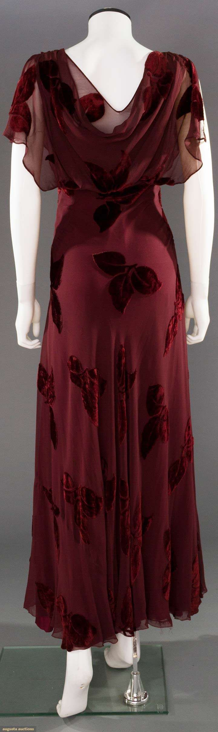 CUT VELVET EVENING GOWN, 1930s Cranberry leaves cut to chiffon, bias cut w/ matching silk slip