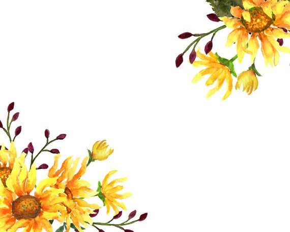Sunflower Love Watercolor Sunflowers Floral Clip Art Wedding