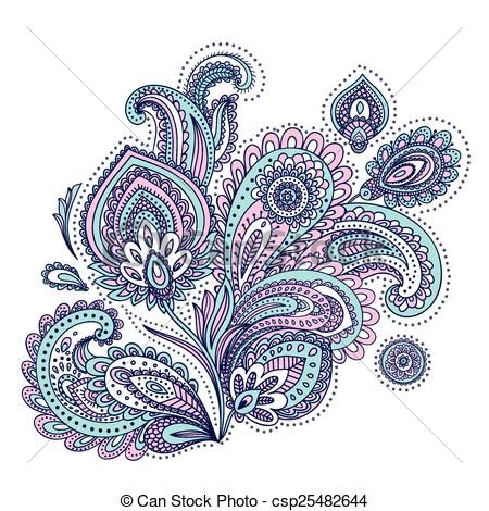 Vector - Beautiful Indian paisley ornament - stock illustration, royalty free illustrations, stock clip art icon, stock clipart icons, logo, line art, EPS picture, pictures, graphic, graphics, drawing, drawings, vector image, artwork, EPS vector art