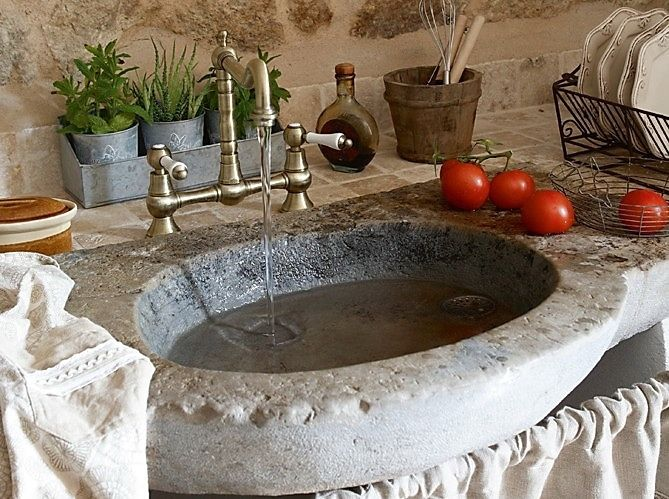French House in the centre of Cévennes - old world style kitchen sink with double-handle faucet, fresh herbs in galvanized metal pots - love!