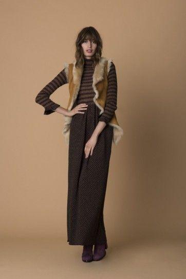 Vestito di lana Pinko - Abito in lana marrone con gilet di montone della collezione Pinko autunno/inverno 20152016