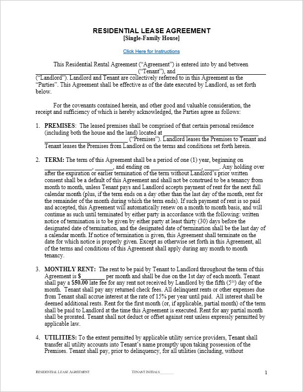 Free Residential Lease Agreement Template for Word, by Vertex42.com