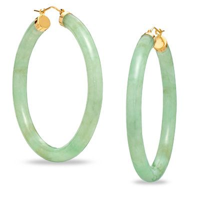 Jade Hoop Earrings in 10K Gold - Zales