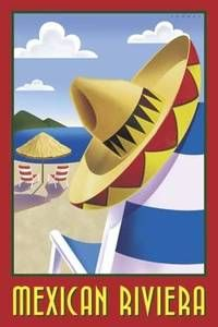 Mexican Riviera Vintage Travel Beach Poster #riviera #essenzadiriviera