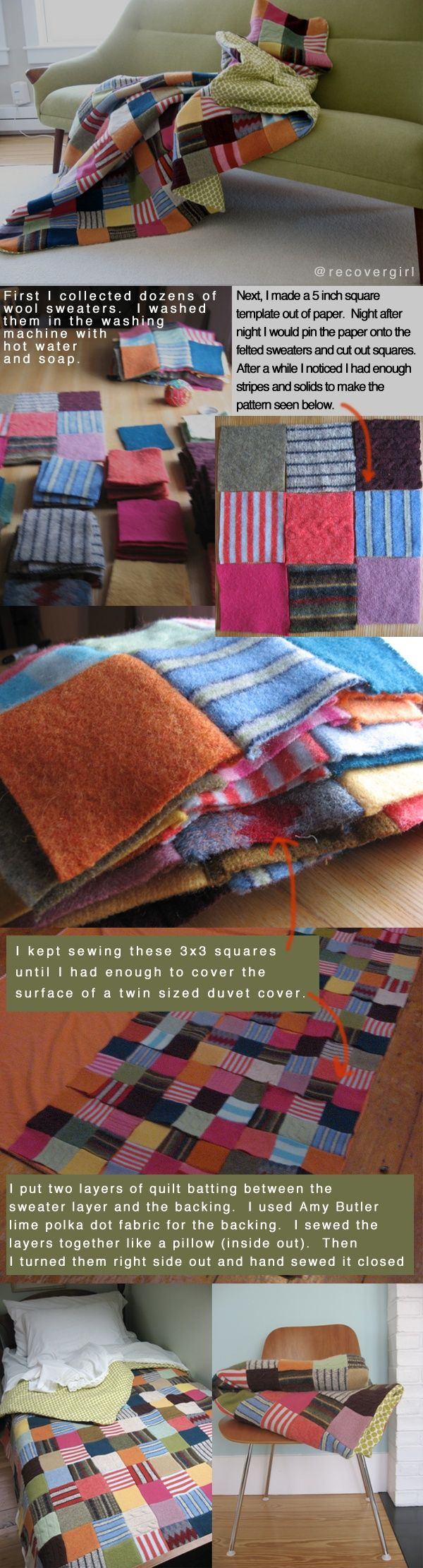 How to make an INCREDIBLY WARM felted scrap wool blanket. I'd butt the pieces together instead, and zigzag across both -- felted wool is PLENTY WARM for most humans. Maybe a strip of bias-cut silk along the back of the zigzag, to reinforce? Not sure it if it would be needed. Must experiment!