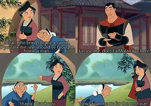 I feel like someone in my family would be like Mulan's grandmother... I love this character!