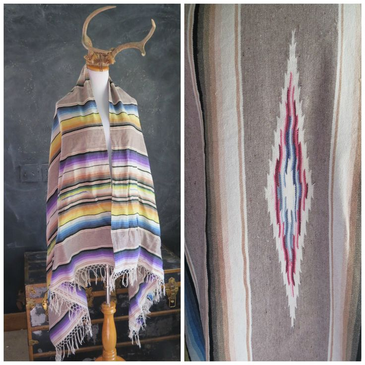 Beige Mexican Blanket. Saltillo Cotton Blanket. Southwestern Throw. Hand Loomed. Bohemain Decor. | The Curious Moose by TheCuriousMoose on Etsy