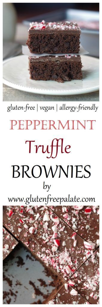 Chewy, fudgey, Gluten-Free Vegan Peppermint Truffle Brownies infused with peppermint and topped with rich chocolate and candy canes! Peppermint and chocolate are a match made in heaven.