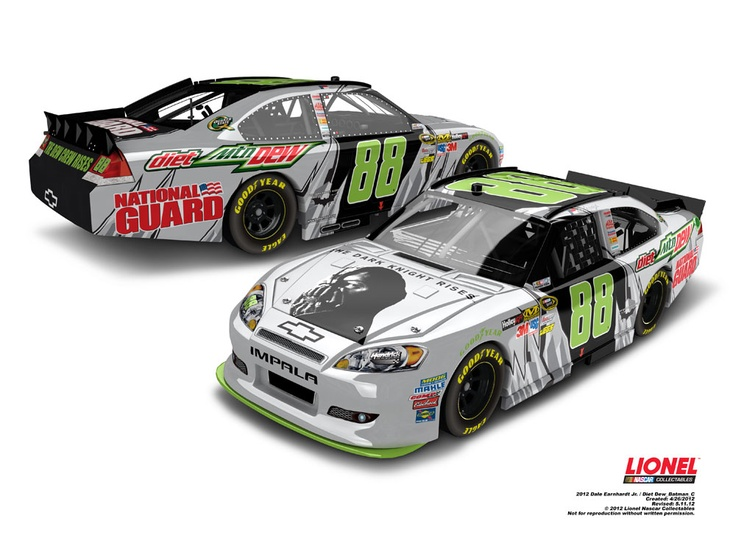 """This is one of four """"Batman"""" cars that fans of Dale Earnhardt Jr. can vote for. Earnhardt will race the car design that gets the most votes at Michigan in June 2012. Submit your vote now at www.dewcrew.com and be sure to check out all four die-cast!"""