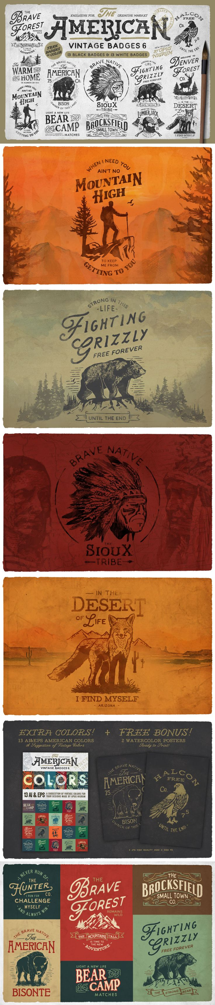 American Vintage Badges 6 #design Download: https://creativemarket.com/OpusNigrum/312025-American-Vintage-Badges-6?u=ksioks