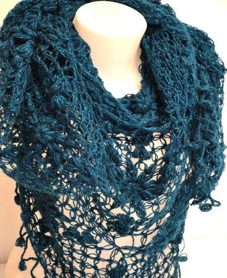 Big sale Crocheted Night Blue Moher Triangel by KnittingbyDOGAART, $57.00