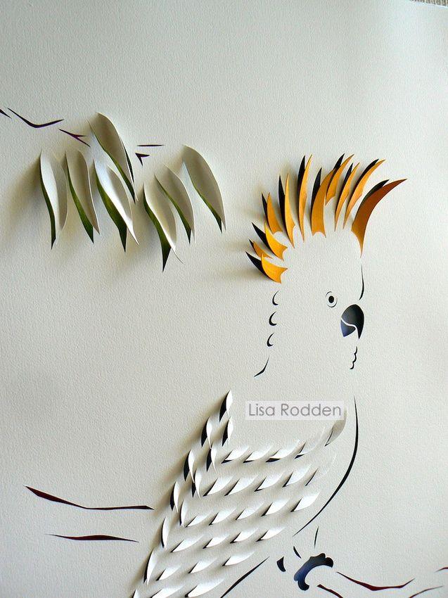 Cockatoo a papercut by Aussie artist Lisa Rodden