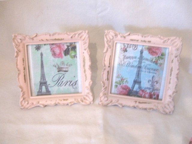Vintage 1940's Pair Shabby Pale Pink Small Photo Frames VERY Ornate Distressed Vintage Eiffel Tower & Roses Prints Chic Victorian Cottage by VintageChicPleasures on Etsy