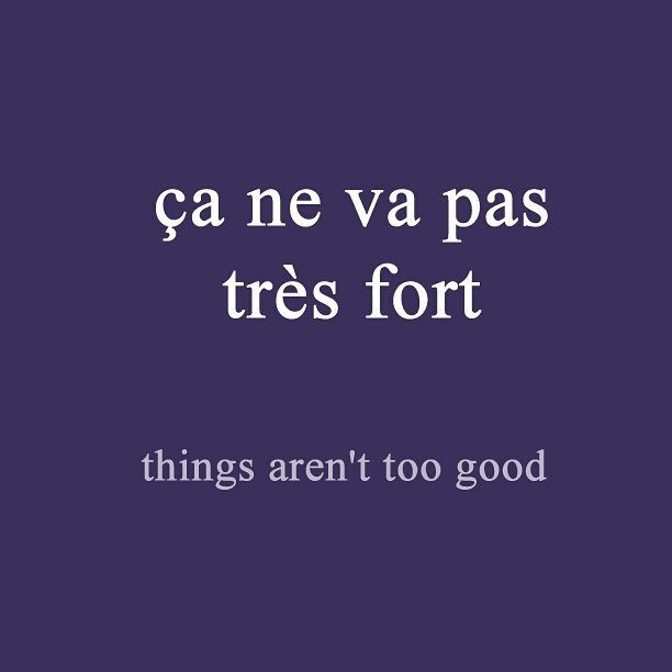 French expression of the day: ça ne va pas très fort - things are not too good