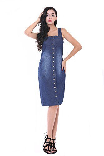 NONOSIZE Womens Denim Button Suspender Skirt Strap Overall Dress Navy Blue Size XXXL *** See this great product.