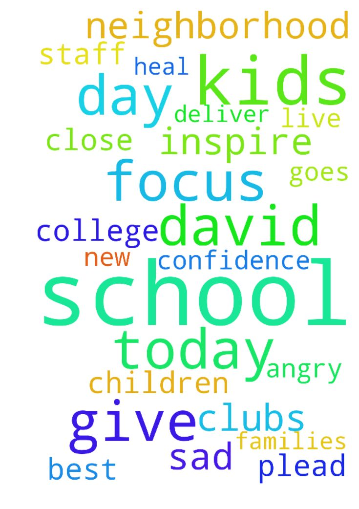Praying for David at school today let him focus on - Praying for David at school today let him focus on his school work, please bless him as he goes through the day, praying for him to have an excellent day, give him more friends who live close to the neighborhood, give him the confidence to join new clubs at the school. protect him and all the kids and staff at the school, let the teachers inspire the kids to be their very best, praying for the kids who are angry and sad please dear Lord…