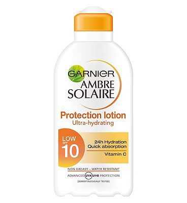Ambre Solaire Garnier Ambre Solaire Moisturising Protection 32 Advantage card points. Garnier Ambre Solaire Moisturising Protection Milk SPF 10 has advanced UVA and UVB Photostable filters to protect the skin. Its non sticky, non greasy formula is easy-to-appl http://www.MightGet.com/february-2017-1/ambre-solaire-garnier-ambre-solaire-moisturising-protection.asp