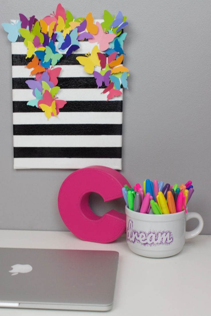 DIY Striped Butterfly Canvas made with paint chips