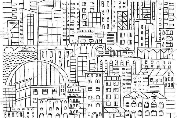 Big city background texture skyscraper sketch buildings line skeleton strokes Modern architecture landscape. Hand drawn vector stock illustration. #modern #skyscraper