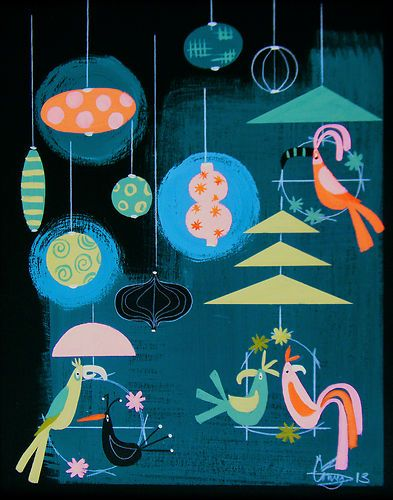 El Gato Gomez Painting Mid Century Modern Retro Tiki Bar Cat Bird Kitschy 1950s | eBay