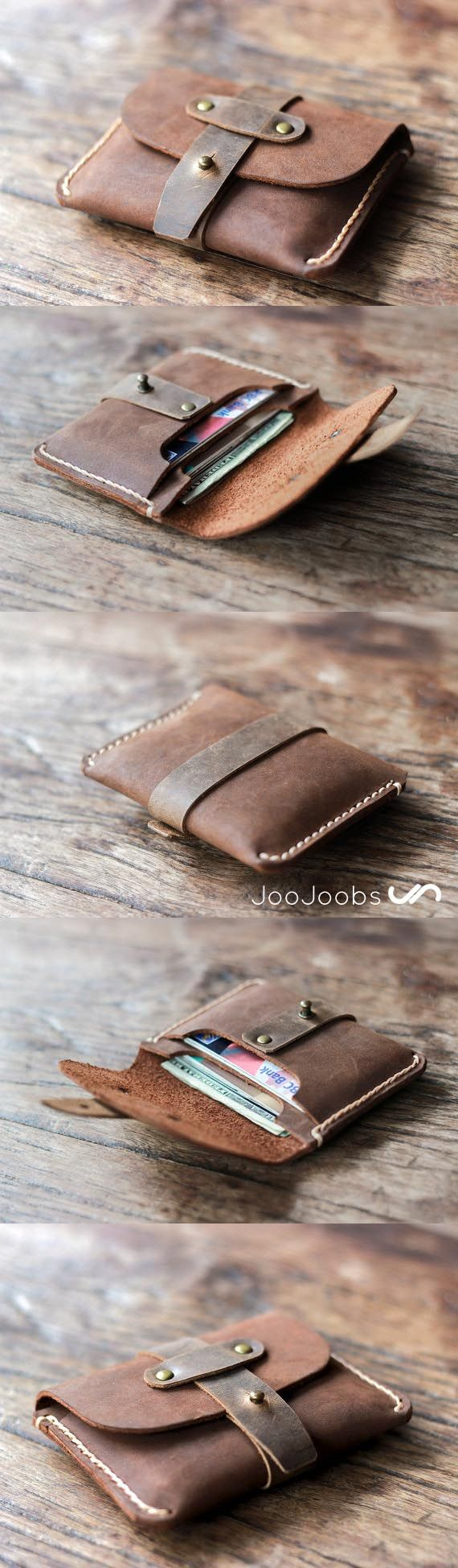 Personalized, Handmade Leather Wallet. Makes for an Awesome Gift, Introducing the Treasure Chest Credit Card Wallet by the folks at JooJoobs.