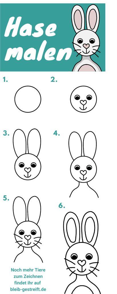 hase zeichnen lernen für kinder  3 extra leichte