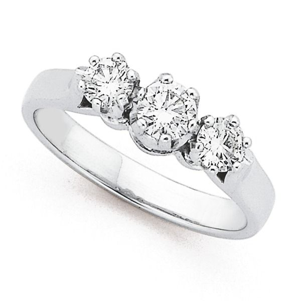Classic 3 Stone,18ct White Gold Diamond Ring with a Total Diamond Weight of .75ct