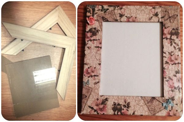 Broken picture frame - 'before & after'  I had a picture frame which was still perfectly good just needed a fix up :)