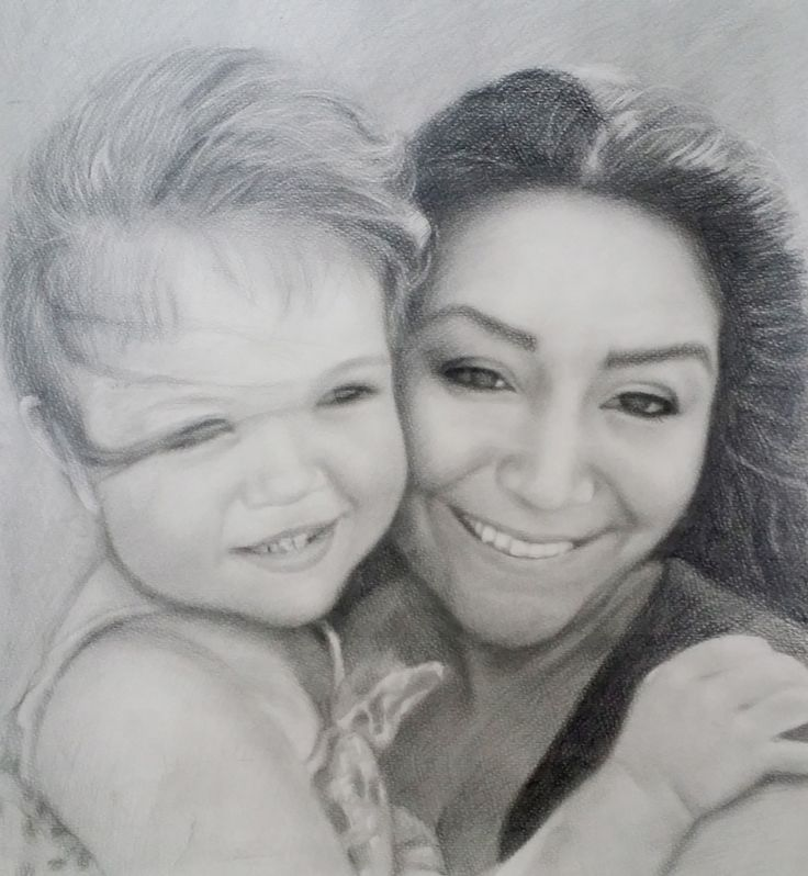 Mother and child pencil sketch by Picarto