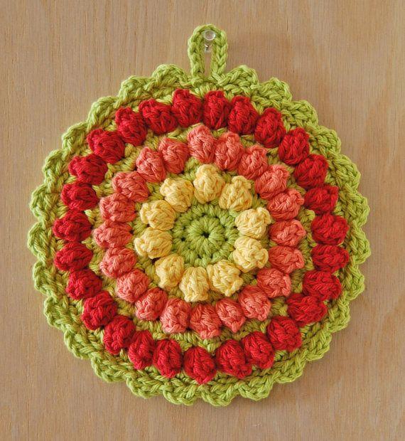 Crochet Hot Pad - Cotton - Yellow, Tangerine, Red - Fruit