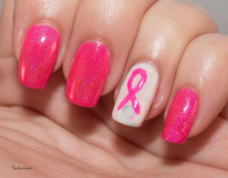 United In Pink, Nail Art Sunday, The Nail Challenge Collaborative, Pink Ribbon Manicure, Nail Art, Rosa Bandet manikyr