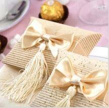Regalo romántico de la boda la caja de la borla blanca elegante de lujo de la decoración del arco del partido del Bowknot dulce Favors plegable boda caja de dulces de papel(China (Mainland))