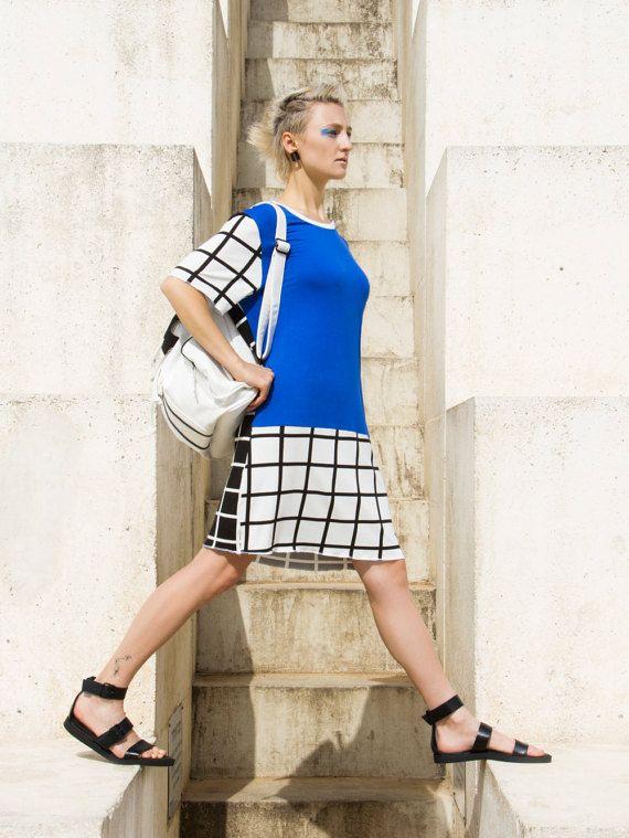 Blue TShirt Dress / Printed Dress / Cotton Summer Dress / Loose Fit Dress / Oversized Dress / Short Sleeve / Vegan