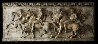 Шествие Александра Великого большой бляшки. Thorvaldsens музей, Копенгаген. Изготовлена из литой камень и стороны-закончил в античной отделкой. Вес: 150 фунтов (68 кг)