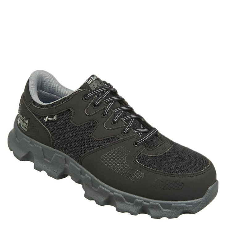 Timberland Pro Men's Powertrain Alloy Safety Toe Work Shoes (Black/Grey Microfibe) - 15.0 W