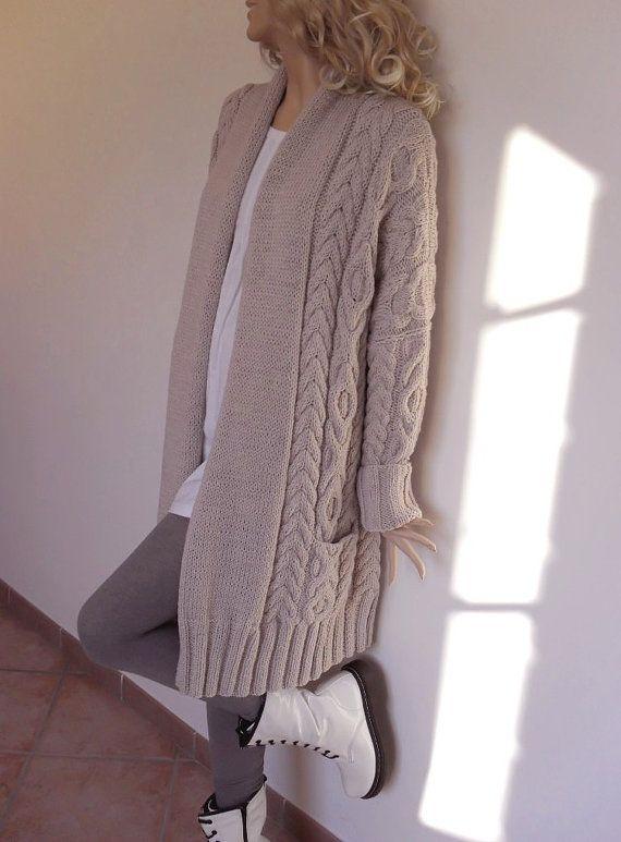 Suéter de las mujeres Cable de punto, de punto Cardigan de lana de Merino, muchos colores disponibles por Pilland