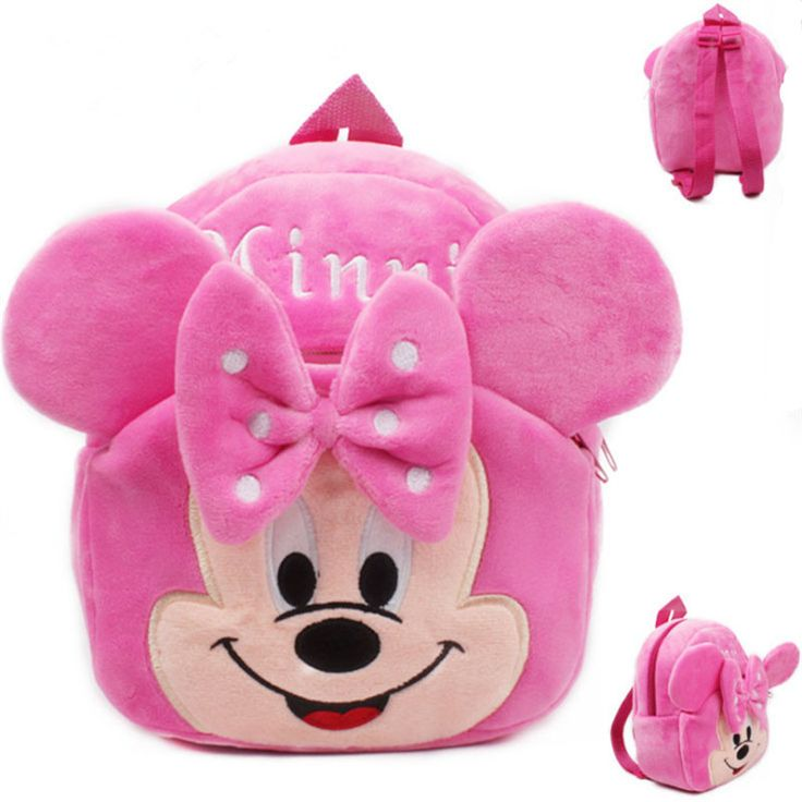 NEW 2016 Plush Top-Quality Minnie/Mickey Mouse Cartoon Children's Backpack 3 Colors